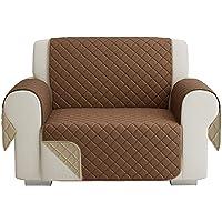Gewatteerde bankovertrek, 1-zits, 55 cm, omkeerbaar, zachte bekleding, doubleface, antislip, beige & bruin