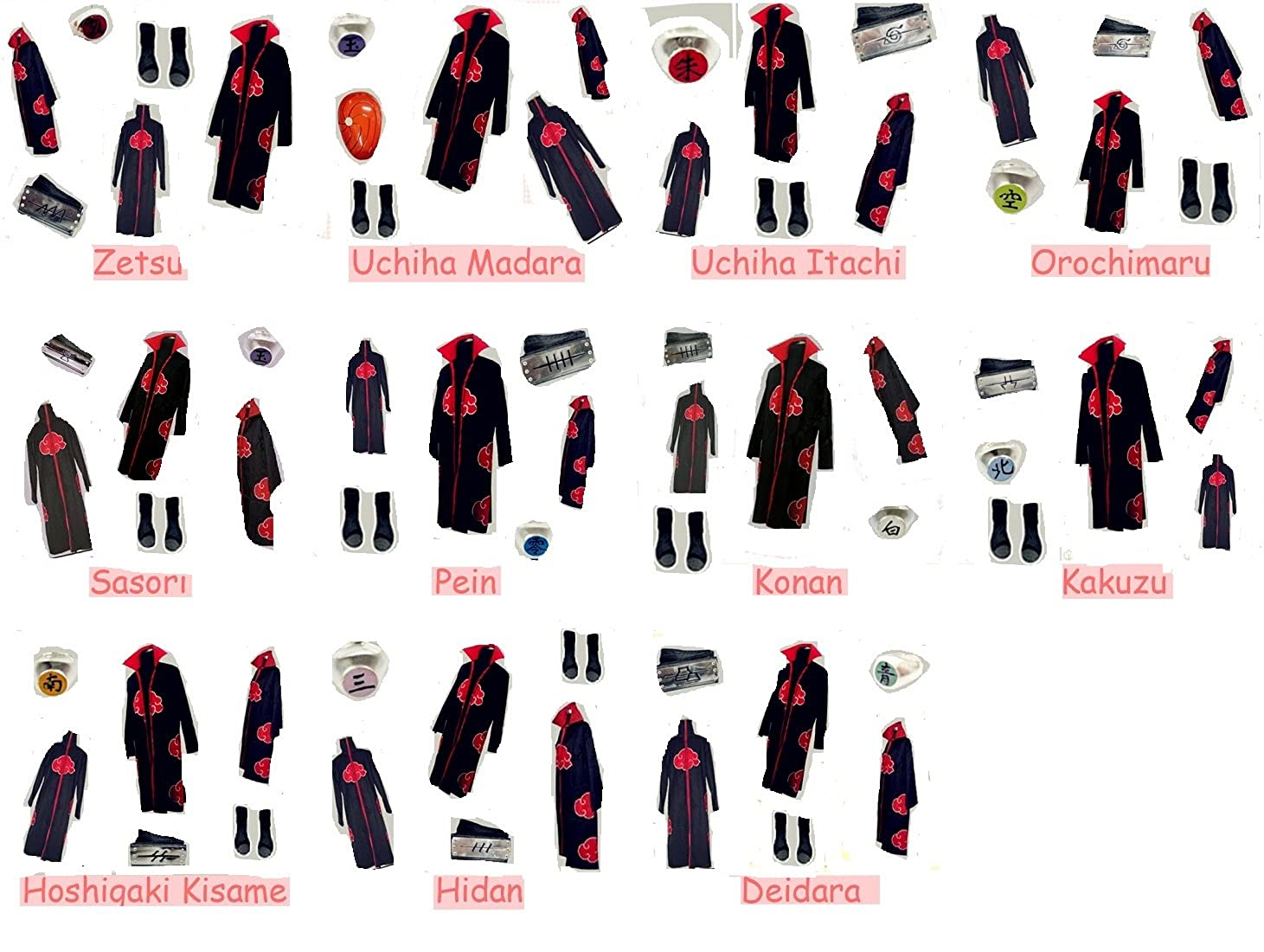 Amazon.com: Mister Bear Naruto Akatsuki Disfraz de cosplay ...