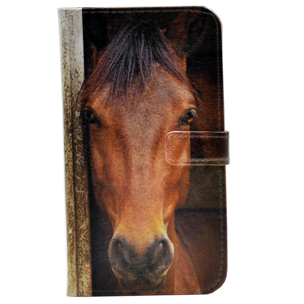 YHB iphone 7 Plus Case, Close-up Of Horse's Face Pattern Leather Wallet Card Stand Case Cover For Apple iphone 7 Plus,iphone 8 Plus (2017)