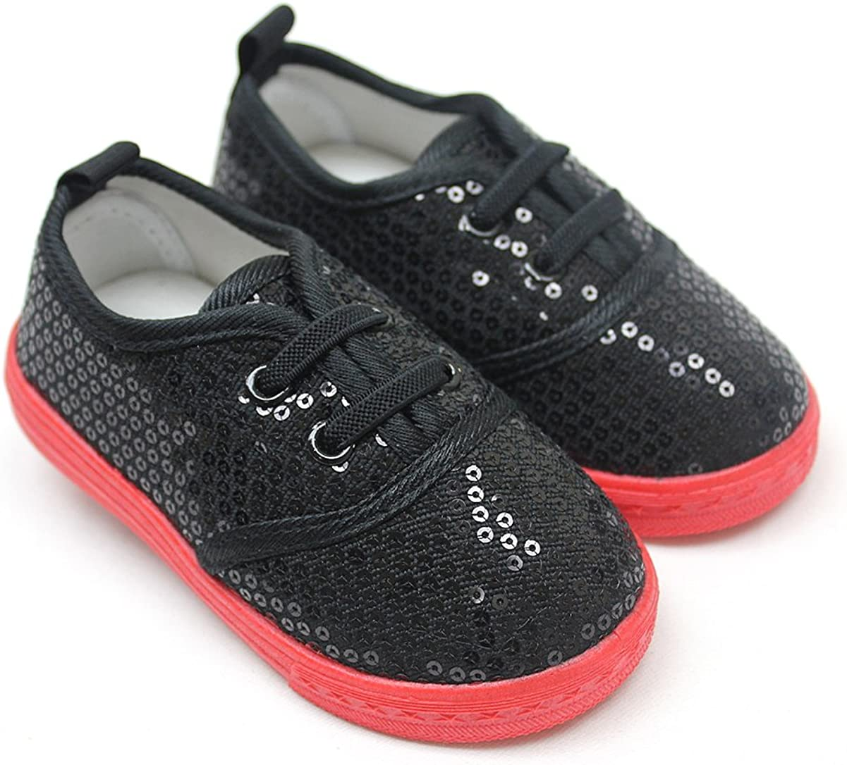 Black Red Laces Sequin Girls Bling Sneaker Kids