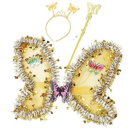 Amosfun alas de Mariposa, Hada y ángel para niñas, alas de ...