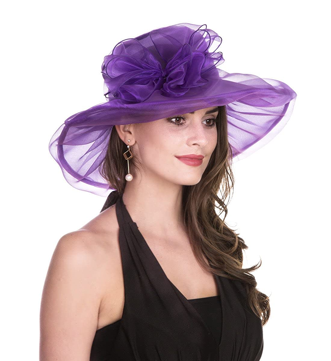9d837506791 SAFERIN Women s Organza Church Kentucky Derby Fascinator Bridal Tea Party  Wedding Hat (1-Purple Bowknot) at Amazon Women s Clothing store