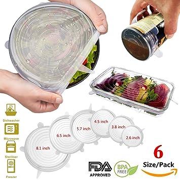 Silicona Stretch tapas reutilizable Alimentos y cuenco Covers 6 unidades de varios tamaños para tazas Keep