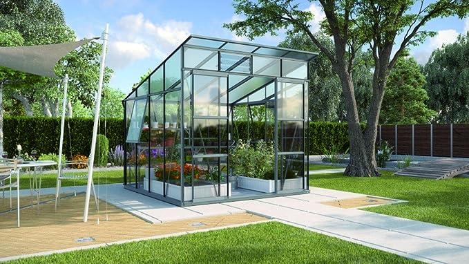 Freya 7600 de aluminio Invernadero ESG 3 mm antracita Invernadero Jardín Casa Incluye Base con cimientos: Amazon.es: Jardín