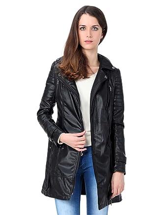 design de qualité fbcb2 d7c76 Miss Coquines - Veste longue en simili cuir - Femme - Vestes ...