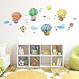Decowall, DM-1406B, Animal Globos de aire caliente cáscara y etiquetas de la pared del cuarto de niños del palillo pegatinas
