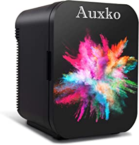 AUXKO Black Personal Mini Fridge 15 Liter/21 Can Portable Refrigerator, Compact Cooler and Warmer for Food, Fruit, Drink, Medications, Bedroom, Dorm, Office, Car (Burst Colorful)