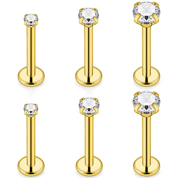 SCERRING 3 Pairs 14g Stainless Steel Prong Setting Clear CZ Internally Threaded Labret Monroe Lip Tragus Cartilage Helix Earring Ring Body Piercing Jewelry 6-10mm