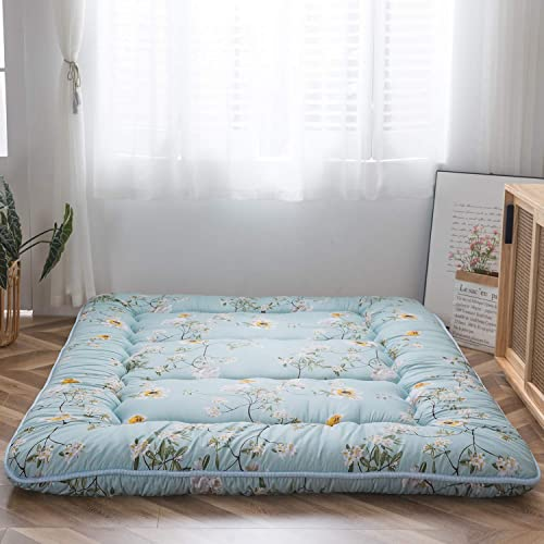 Rustic Floral Korean Floor Mattress Japanese Futon Mattress, Memory Foam Foldable Bed Roll Up Camping Mattress Floor Lounger Bed Couches and Sofas Mattress Topper Queen Size