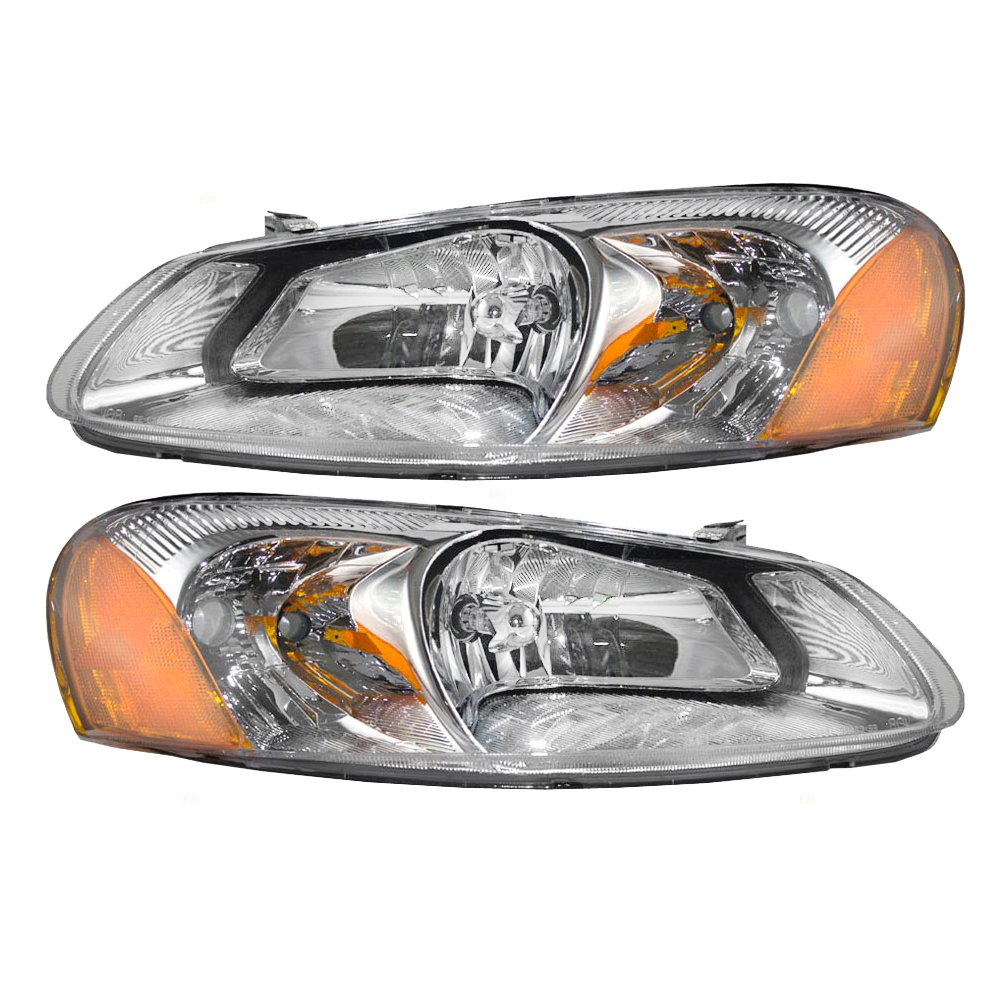 Driver and Passenger Headlights Headlamps Replacement for Dodge Chrysler 4805821AA 4805820AA