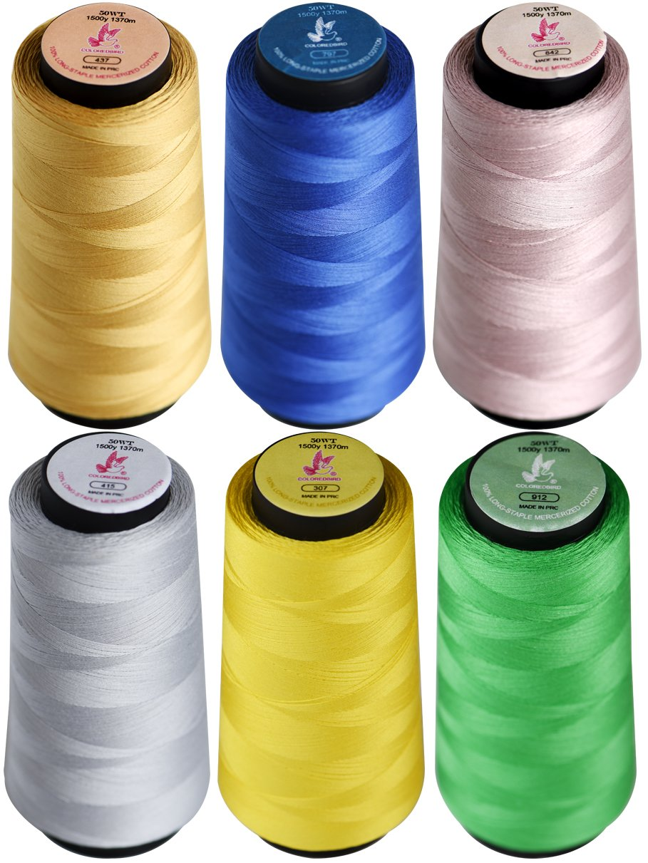 Colored Bird 6x1500yards 50wt Overlock Sewing Thread Assorted Colors Yard Spools Cone 100% Cotton for Machine Embroidery Quilting and Serging(437, 797, 842, 912, 415, 307) cq