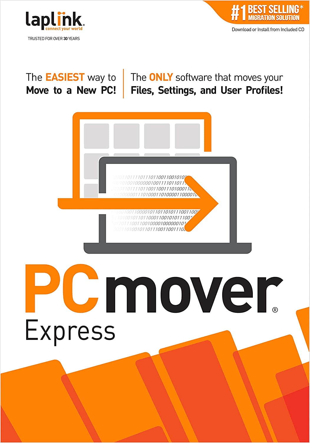 Laplink PCmover Express | Instant Download | Single Use License | Moves Files, and Settings to Your New PC 71bUd7YaD7L