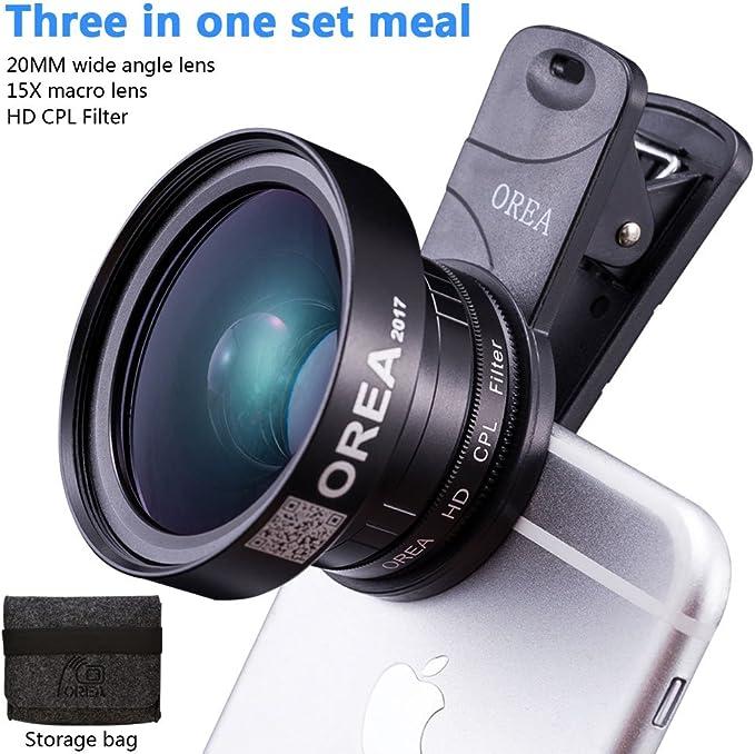 3 In 1 Objektiv Set Für Iphone 7 20 Mm Weitwinkelobjektiv Plus 15 X Makroobjektiv 37 Mm Cpl Objektivfilter Für Pixel Samsung Ios Android Tablet Elektronik