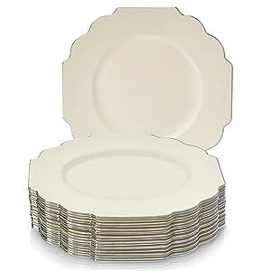 "20 Premium Reusable Plastic Dinner Plates | Baroque - Ivory | 10.75"""