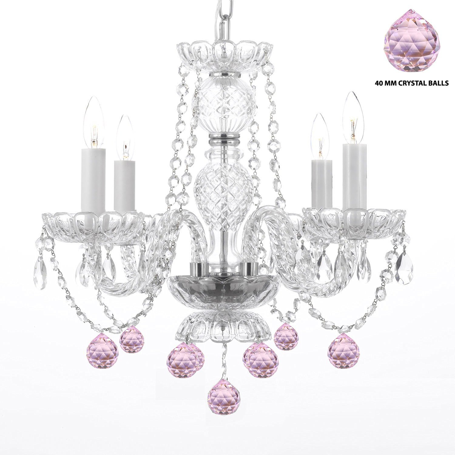 Swarovski Crystal Trimmed Chandelier! Chandelier Lighting W/ Crystal Pink Balls! H 17'' W17'' - Perfect For Kid'S And Girls Bedroom!