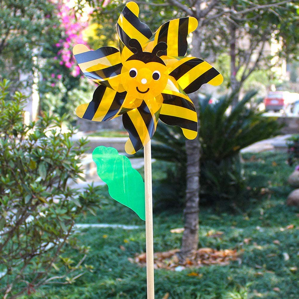 Bee Wind Spinners Pinwheels 3D Animal Whirlygigs Windmills Garden Stakes Ornaments for Kids Lawn Yard Patio Party Decor Wood Windmills Garden Bee Beetle Wind Spinner Kids Pinwheels Toys Colorful
