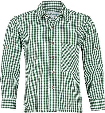 Isar-Trachten - Camisa de Traje Regional para niño, diseño a Cuadros, Color Verde Abeto: Amazon.es: Ropa y accesorios