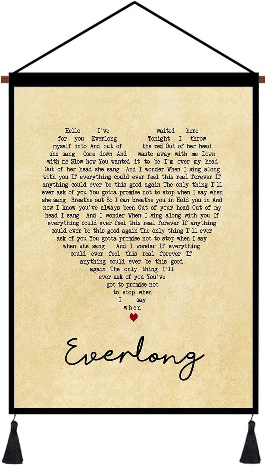 kasader Everlong Heart Unique Quote Song Lyric Retro Wall Art Gift Print Canvas Reel Home Decor 24x18in
