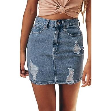 7b92412437c HCFKJ Femmes Jupes De L éTé des Jeans en Denim Solide Trou ...