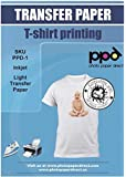 """PPD Inkjet Iron-On Light T Shirt Transfers Paper LTR 8.5x11"""" Pack of 40 Sheets (PPD001-40)"""