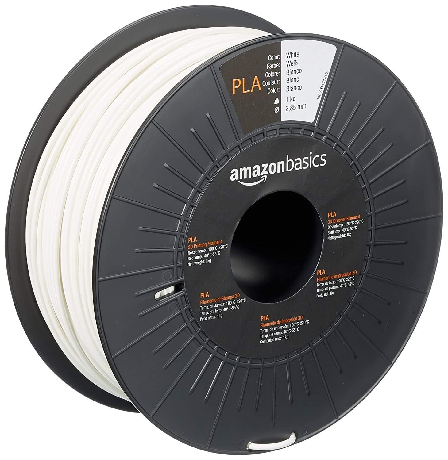 AmazonBasics PLA 3D Printer Filament, 2.85mm, White, 1 kg Spool