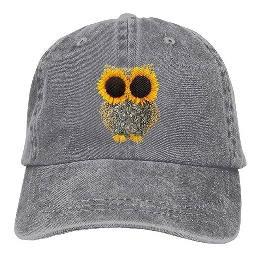 Sunflower Owl Men s Black Adjustable Vintage Washed Denim Baseball Cap Dad  Hat Trucker Cap 254d0181418