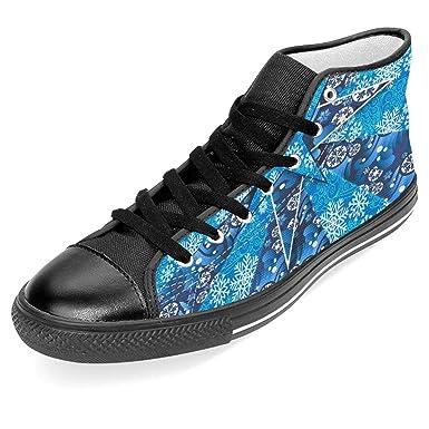 d68aa1d753e30 Amazon.com: Unisex Classic Canvas Shoes Blue Star Snow Fashion High ...