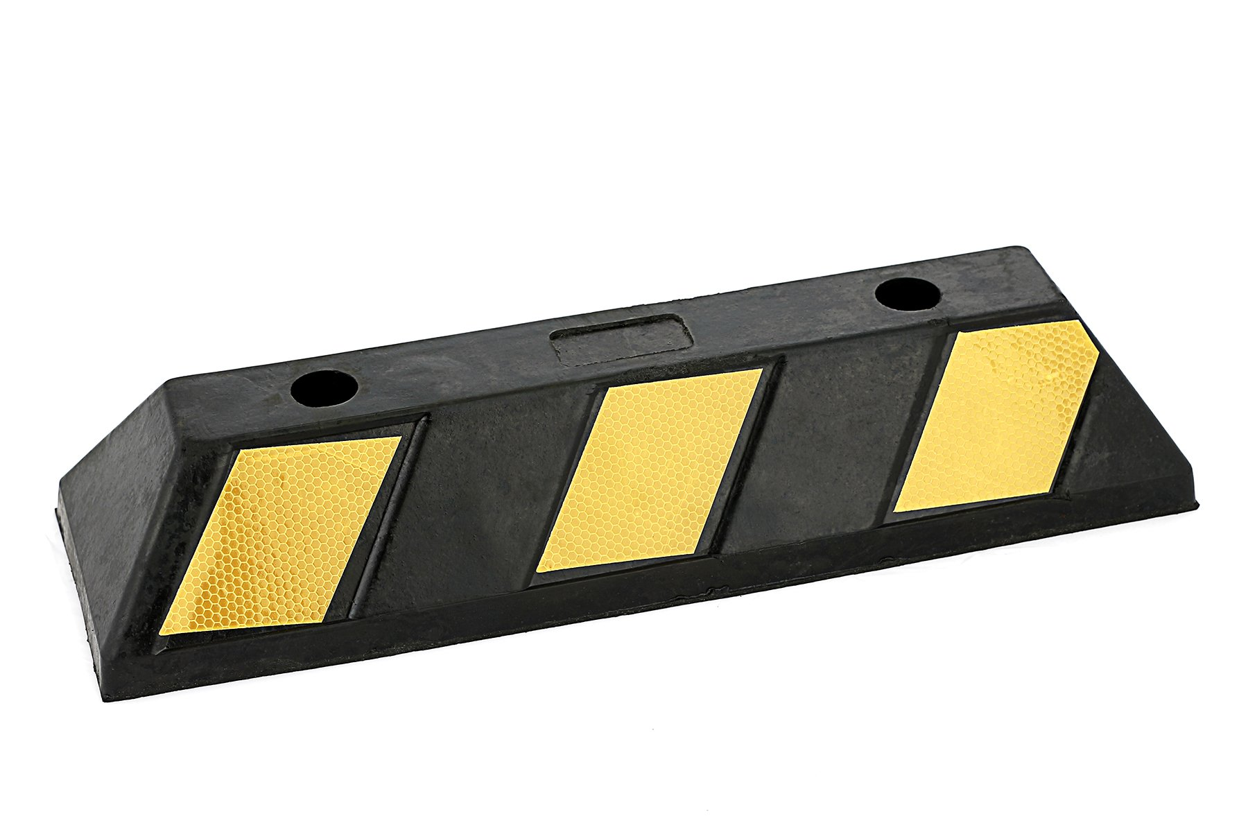 Victus Garage Vehicle Parking Block, Black Heavy Duty Rubber Curb with 6 High Reflective Yellow Targets for Car, Truck, RV and Trailer Stop Aid, 19.7 Inches Long x 4 Inches High