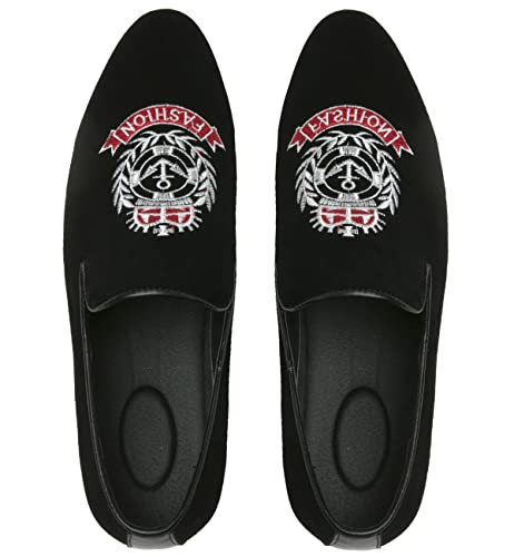70b867101c08 Mens Loafers Fashion Embroidered Suede Slip-on Shoes Casual Round Toe  Slipper Moccasins Santimon Black