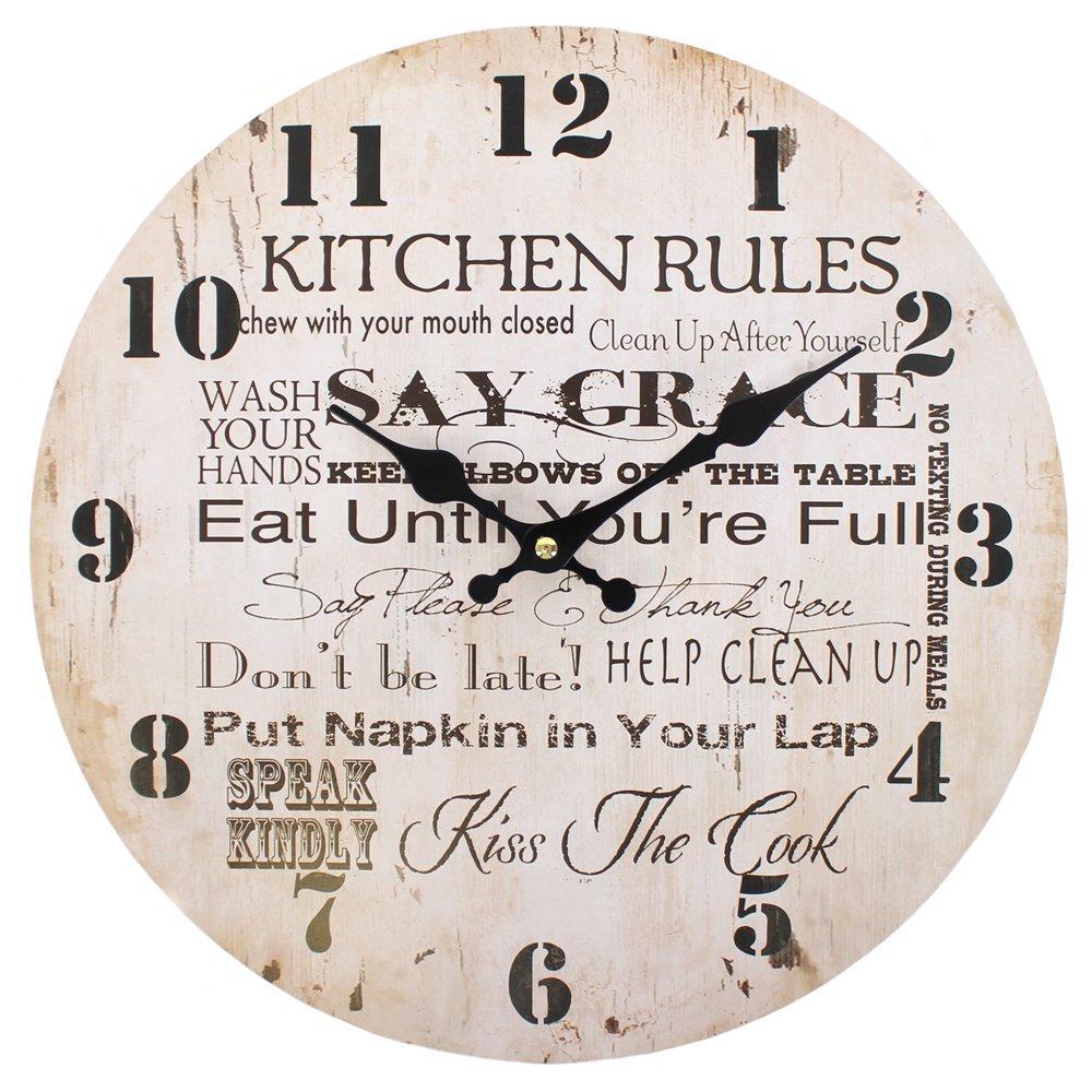 Something Different Kitchen Rules Clock, 34 cm: Amazon.co.uk ...