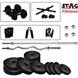 Stag 5 ft Sraight and 3 Ft Curl Rod Home Gym Set (8kg / 12kg / 16kg / 20kg)