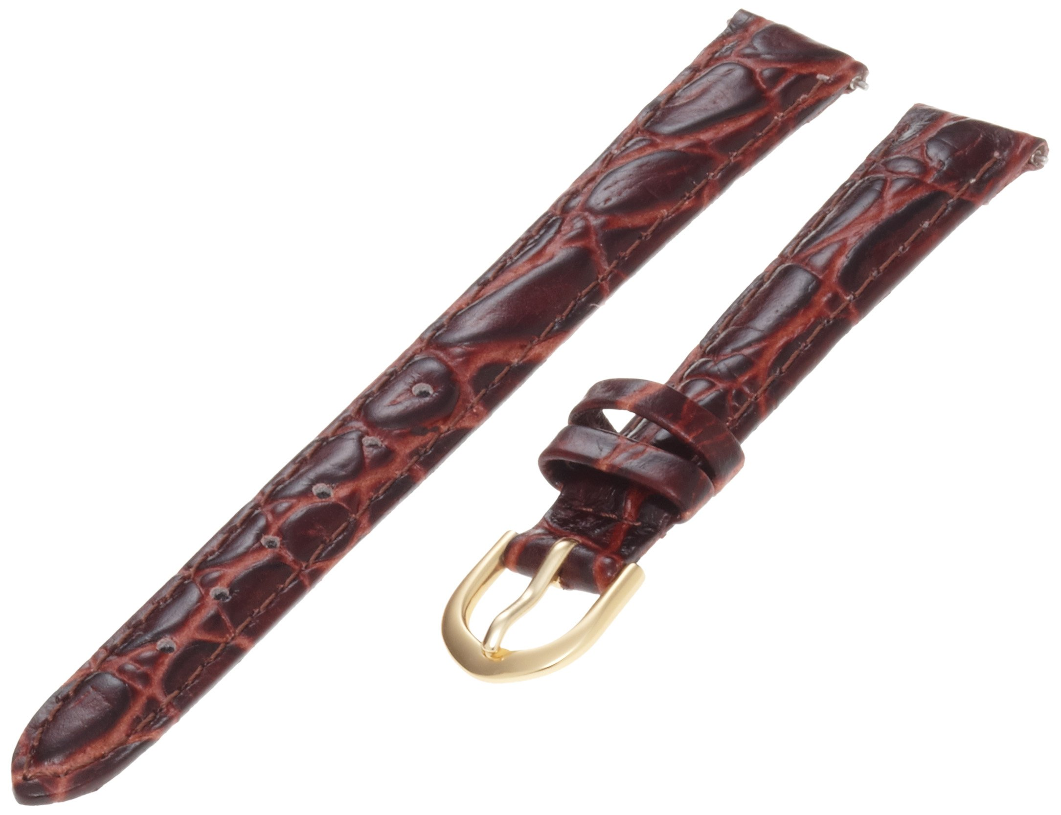 Timex Women's Q7B839 Leather Padded Crocodile Grain 13mm Brown Replacement Watchband