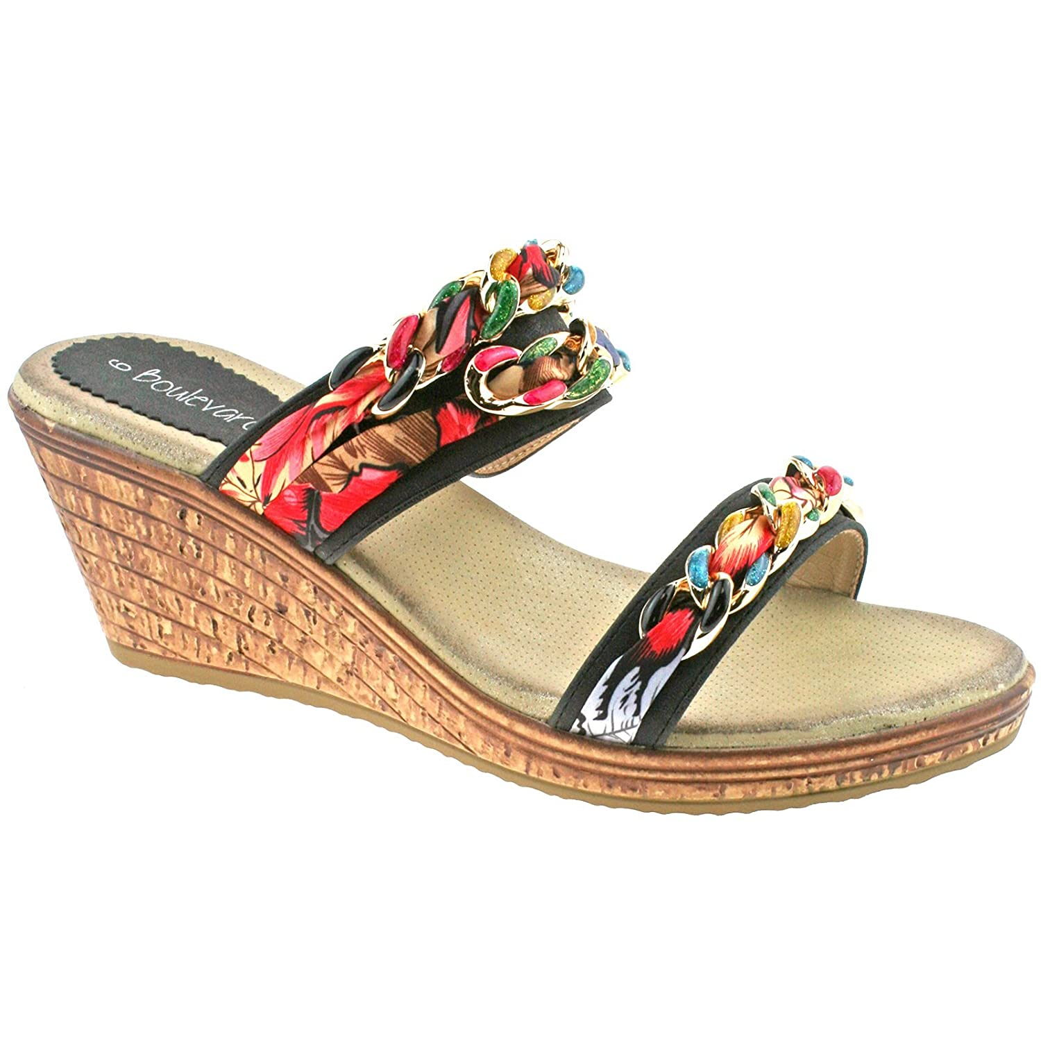 d2752e60532f04 Womens Twin Strap Mule Wedge Summer Sandals  Amazon.co.uk  Shoes   Bags