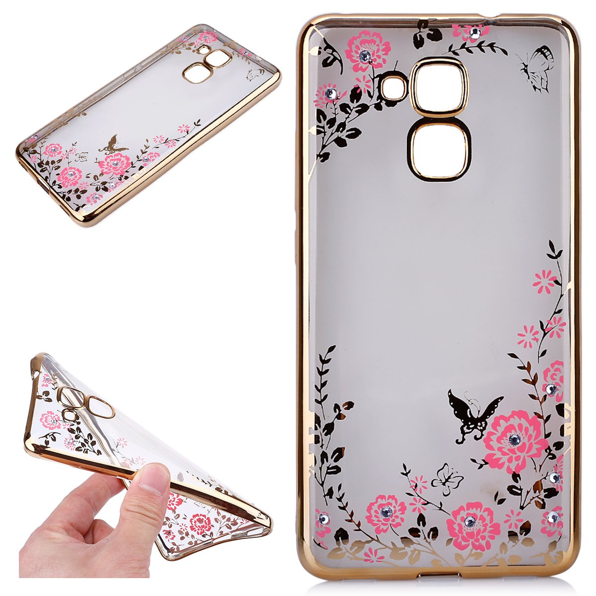 Huawei Honor 5C Coque de protection pour Huawei Honor 7 Lite, Huawei GT3 Bling Diamond Geheimer Jardin Rose Papillon Fleurs Soft TPU Coque de protection Coque de protection Coque de protection Coque de protection Uposao