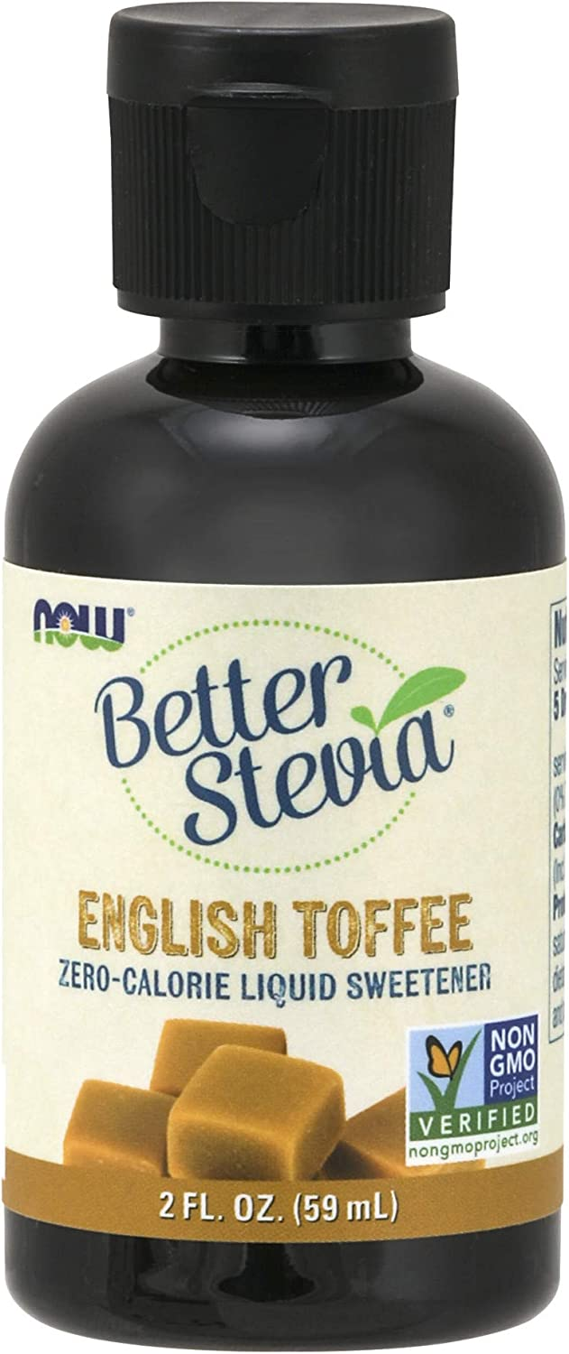 NOW BetterStevia Liquid, English Toffee, 2-Ounce