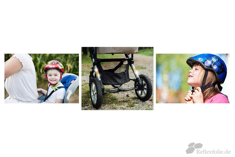 Set zur Sicherheits-Markierung von Kinderwagen Rollstuhl Hoch reflektierende Sticker Leucht-Aufkleber 33 Teile selbstklebend Reflexfolie Fahrrad Gehhilfen Helme in rot Schulranzen