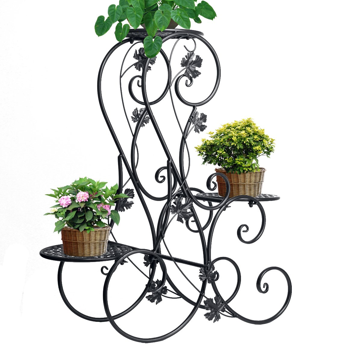 Dazone® 3-Tiered Scroll Decorative Metal Garden Patio Standing Plant Flower Pot Rack Display Shelf Holds 3-Flower Pot (Black) by DAZONE (Image #7)