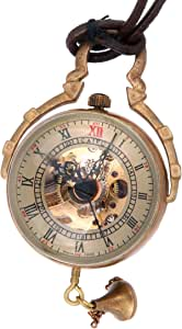 ShoppeWatch Necklace Pendant Pocket Watch Skeleton Hand Wind Mechanical Movement Steampunk Glass Orb Cosplay PW-13