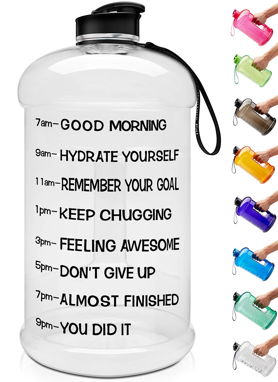 Venture Pal Large 1 Gallon/128 OZ & 74 OZ Motivational Leakproof BPA Free Water Bottle with Time Marker Perfect for Fitness Gym Camping Outdoor Sports-1Gallon-White