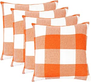 MENGT Pack of 4 Farmhouse Buffalo Check Plaid Cotton Linen Soft Solid Decorative Square Throw Pillow Covers Home Decor Design Set Cushion Case for Sofa Bedroom Car 18 x 18 Inch, Orange and White