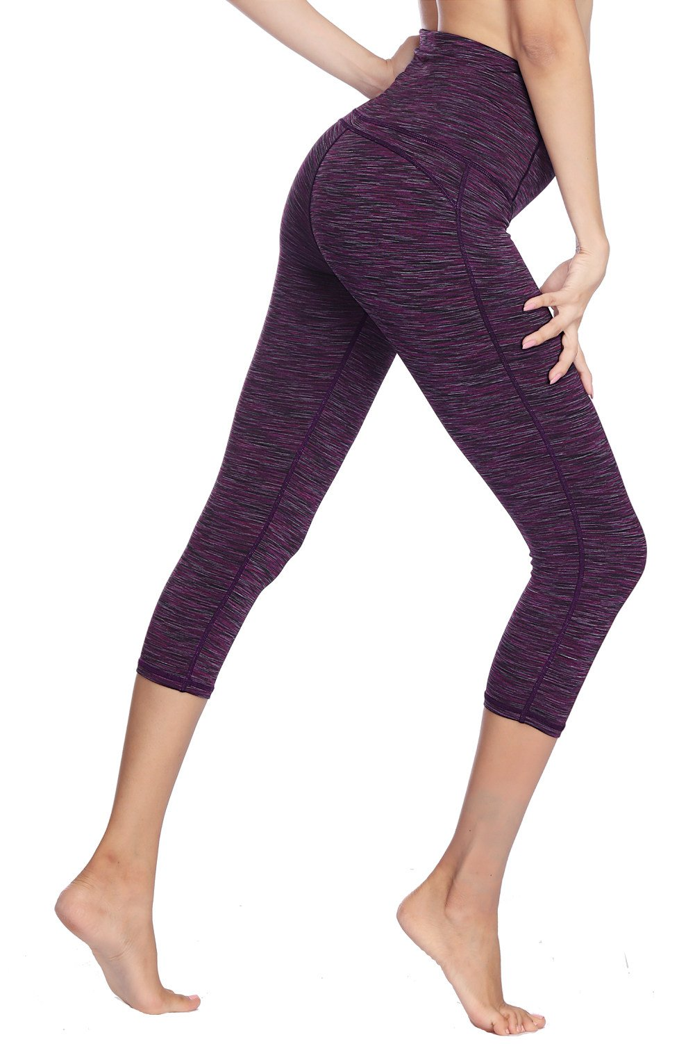 Dragon Fit Compression Yoga Pants Power Stretch Workout Leggings with High Waist Tummy Control (Large, Capri-Purple) by Dragon Fit (Image #3)