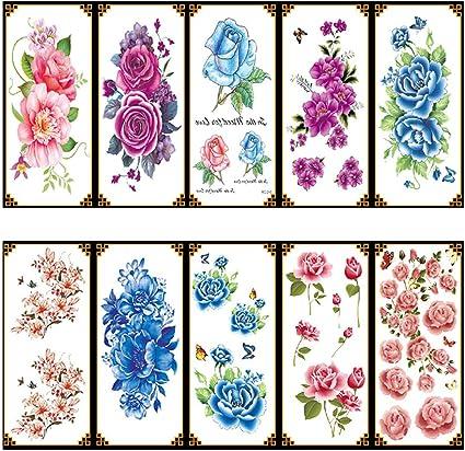 Limeo Tatuajes Temporales de Flores para Mujer Pegatina Tatuajes ...