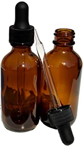 Dropper Stop 2oz Amber Glass Dropper Bottles (60mL) with Tapered Glass Droppers - Pack of 2