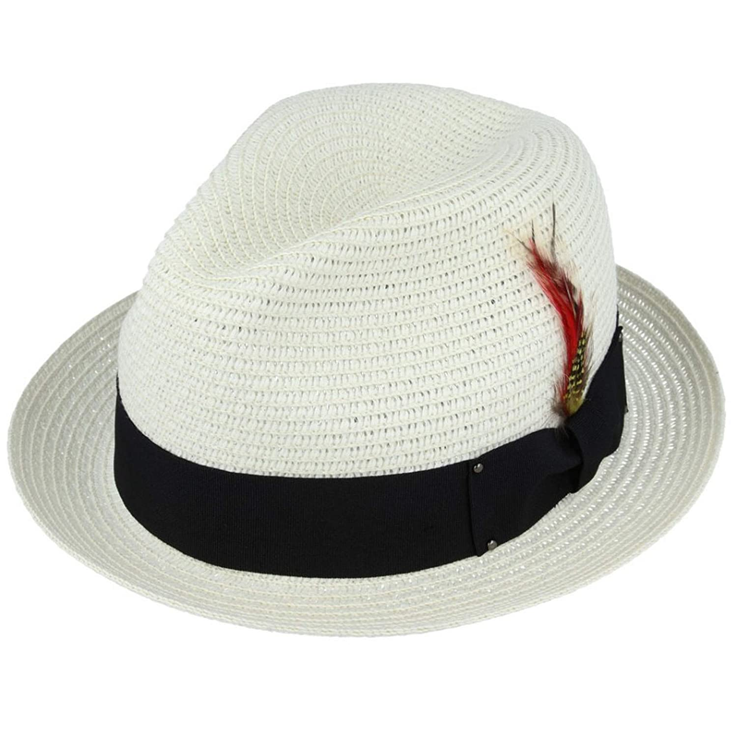 MAZ Unisex Paper Straw Cream Crushable Summer C-Crown Trilby Hat with Band and Adjustable Sweatband