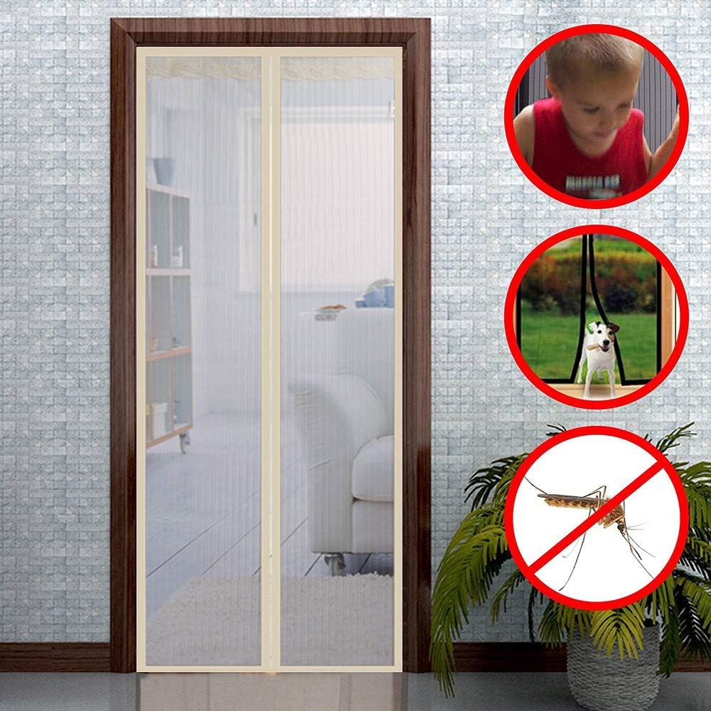 ZXPYN Puerta Cortina Magnética Cortina Mosquitera para Puertas Perros Mascotas Amigables Fácil de Instalar para Puerta de terraza, sótano y salón - Beige 100x240cm: Amazon.es: Hogar