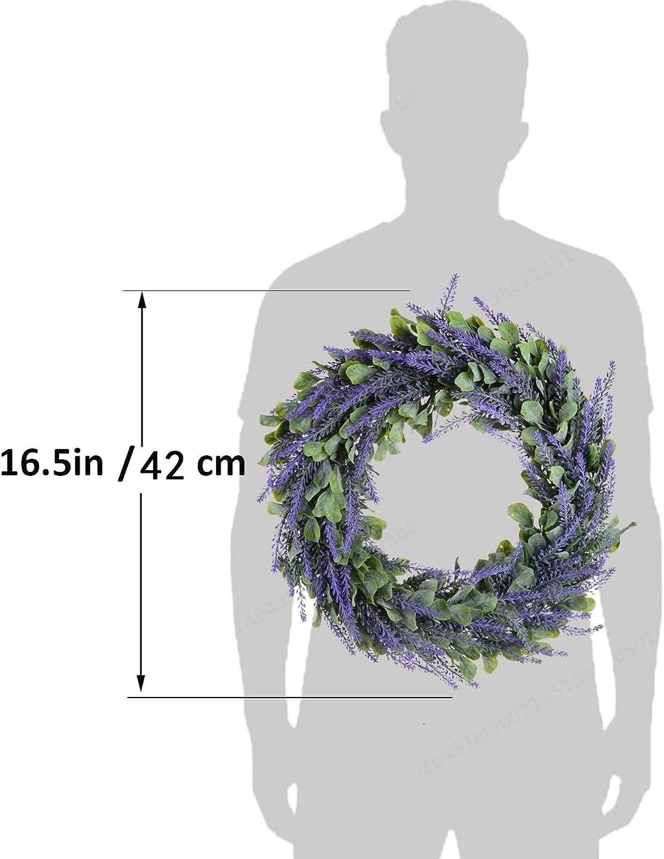 SALAKA 17-Zoll-Lavendel-Fr/ühlingskranz-k/ünstlicher Kranz-runder T/ür-Kranz f/ür die Haust/ür-Inneneinrichtung