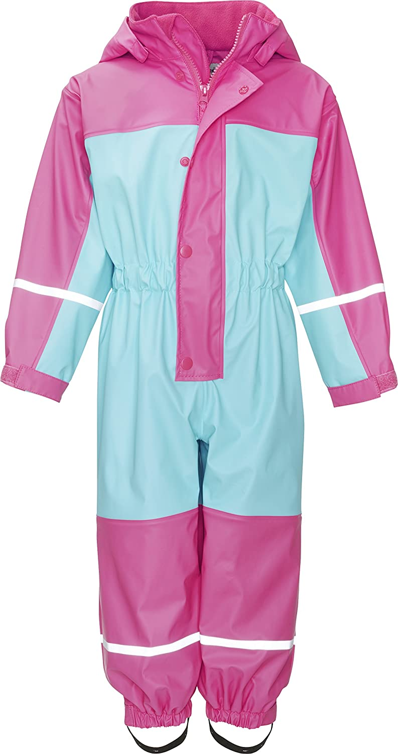 Playshoes Girl's Waterproof Fleece All-in-One Rainsuit with Reflectors 405401