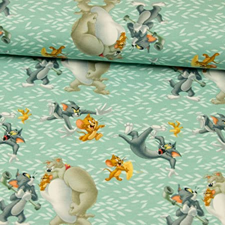 2838701aab6 Stoffe Werning Cotton Jersey Fabric Digital Print Licensed Tom & Jerry  Tracking Hunting - Price is for 0.5 Metres,: Amazon.co.uk: Kitchen & Home