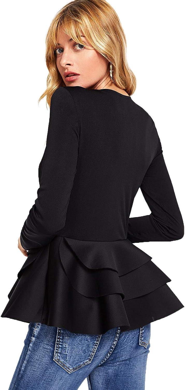 ROMWE Womens Vintage Layered Ruffle Hem Slim Fit Round Neck Peplum Blouse