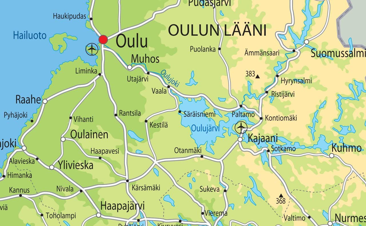 Finland Physical Map Paper Laminated A0 Size 84.1 x 118.9 cm